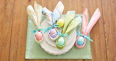 five assorted-color egg decors