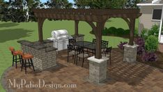 Station with Bar Design pairs perfectly with any of our wide p. Grill Station with Bar Design pairs perfectly with any of our wide p. Grill Station with Bar Design pairs perfectly with any of our wide p. Outdoor Kitchen Design, Patio Design, Backyard Bar, Pergola Designs, Outdoor Patio Decor, Diy Outdoor Kitchen, Patio Flooring