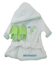Personalized Bathrobe and Slipper Gift Set - Froggy Theme