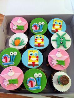 Sponge Bob cupcakes. Fondant details Sponge Bob Cupcakes, Themed Cupcakes, Spongebob, Cupcake Cakes, Fondant, Sugar, Cookies, Desserts, Food