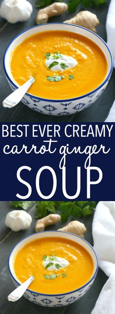 This Best Ever Creamy Carrot Ginger Soup is the best carrot soup that's warm, hearty, and packed with spicy ginger and creamy coconut. It's healthy, made with only a few simple ingredients, and it's so easy to make! Recipe from ! Chili Recipes, Soup Recipes, Vegetarian Recipes, Dinner Recipes, Cooking Recipes, Healthy Recipes, Baker Recipes, Healthy Soup, Keto Recipes