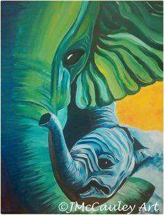 "Commissioned mother and child elephants, 11x14"" acrylics"
