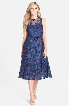 Tea Length Navy Blue Dress