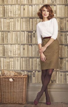 Classic work outfit (maybe an ivory or cream top instead of white).