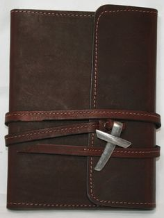 Personalized Leather Journal, Genuine Top Grain Latigo Leather, With Leather Strap Closure and Pewter Cross and Lined Kraft Paper Refill by AmazingLeatherProduc on Etsy