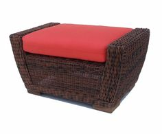 Wicker Ottoman - Galveston #ottoman #sunbrella #wicker