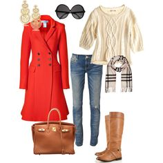 Red coat and riding boots
