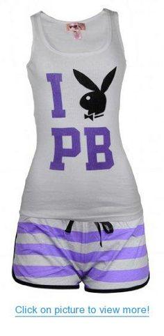 Playboy Women 2 pc white tank top Purple Short Pant Set Pajamas