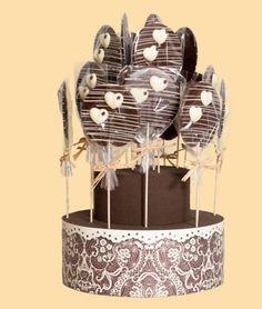 Piruletas de chocolate para mesas de chocolate, mesas dulces y regalos o detalles para tus invitados