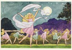 Dancing Under the Moon - Rudolf Koivu Fairy Land, Fairy Tales, Alder Tree, Vintage Book Art, Under The Moon, Children's Book Illustration, Book Illustrations, Mythical Creatures, Faeries
