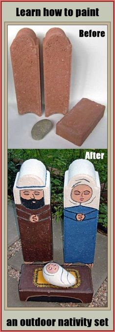 #DIY Learn how to paint a unique outdoor nativity set on garden rocks. $5 (nativity sets / nativity scene figures)