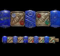 This is not contemporary - image from a gallery of vintage and/or antique objects. Art Deco Bracelet, Gold Lapis Agate Turquoise, Austrian, c.1925