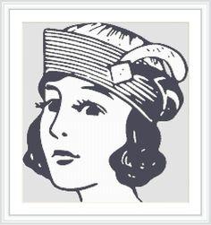High fashion 1930s style cross stitch pattern. Fashion hat. Beautiful lady. Stylish hat. Retro. Vintage. Feature piece. Gift. Retro chic. by Crossstitchinn on Etsy