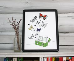 Whimsical art - butterflies drawing - pen and ink art print. $25.00, via Etsy.