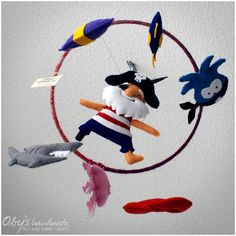 Felt baby mobile with pirates, ObysHandmade