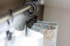 curtain ring clips...now THAT'S easy! with a little adhesive hem tape this is completely no-sew