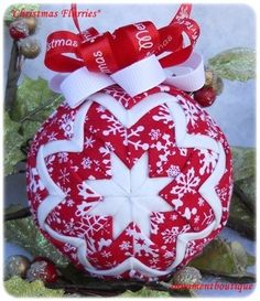 Quilted Christmas Ornament Snowflake Ornament red white snowflakes