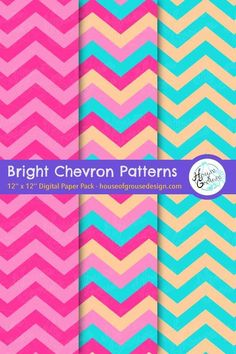 Create a cute colored scene with decorative chevron patterns! By House of Grouse Design, the cutest digital scrapbooking warehouse. Pattern Designs, Retro Pattern, Cute Pattern, Surface Pattern Design, Origami Patterns, Chevron Patterns, Paper Design, Fabric Design, Grouse