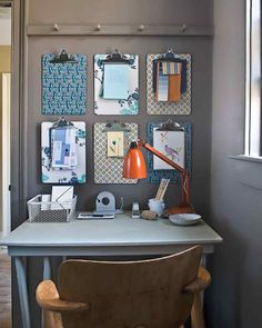 Use decorative paper (or wallpaper leftovers or samples) to brighten basic clipboards.Start by making a template: Trace the shape of the board onto card stock, making a notch for the clamp (use a zip tie to hold clamp open while working).Place template on the back of paper; cut out with a craft knife.Brush a thin, even layer of Martha Stewart Crafts decoupage glue onto clipboard with a craft brush.Affix paper, and smooth out air bubbles with a craft scraper. Brush with decoupage glue.Hang...