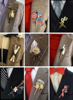 Collage of non-traditional boutonnieres from Fritts Rosenow.