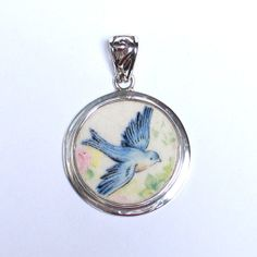 Broken China Jewelry - Vintage Blue Bird Bluebird - Antique - Sterling Silver Pendant