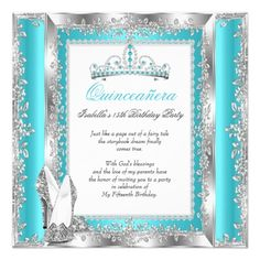 Quinceanera 15th Birthday Party Teal Blue Silver