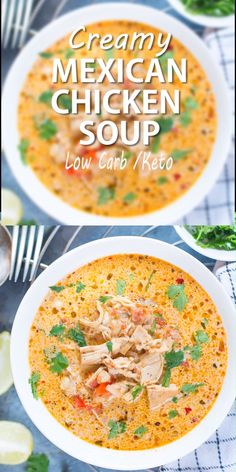 This Healthy Keto dinner, Creamy Mexican Chicken Soup is so relishing and loaded with Mexican flavours. Use a Crockpot or an Instant Pot to make this delicious soup. One of our favourite Instant Pot Recipe. recipes videos for dinner Mexican Chicken Soup Crock Pot Recipes, Easy Soup Recipes, Easy Healthy Recipes, Cooker Recipes, Low Carb Recipes, Healthy Crockpot Soup Recipes, Low Carb Keto, Recipes With Chicken Stock, Pumpkin Recipes Healthy Dinner