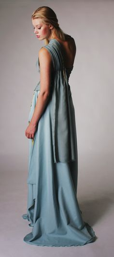 Greek Goddess Couture Dress made of textile waste by Shekila. www.shekila.nl