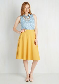 Just This Sway Skirt in Goldenrod. Youll definitely have that swing when you step out in this sunny yellow midi skirt! #yellow #modcloth