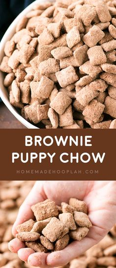 Brownie Puppy Chow Whether you call them puppy chow or muddy buddies you re sure to love this bakery makeover of the classic crunchy sweet snack with rich brownie flavor Puppy Chow Snack, Puppy Chow Recipes, Snack Mix Recipes, Snack Mixes, Healthy Puppy Chow, Chex Recipes, Lemon Puppy Chow, Crockpot Recipes, Chow Chow Recipe