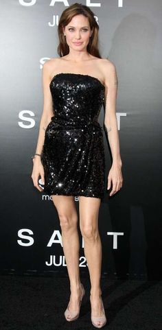 Angelina Jolie draped beaded mini-dress