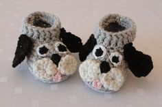 Knit Baby Booties Puppy Dog Crochet Baby by LavenderBlossoms, $18.00