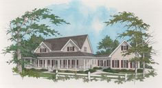 This sprawling farmhouse plan offers homeowners and guests a sense of laid-back luxury and casual elegance. The splendid wraparound porch forms a welcoming facade. The entry area, flanked by living and dining rooms, houses the staircase and powder room. The two-story family room with cozy fireplace adjoins the magnificent master suite with private bath and two walk-in closets.