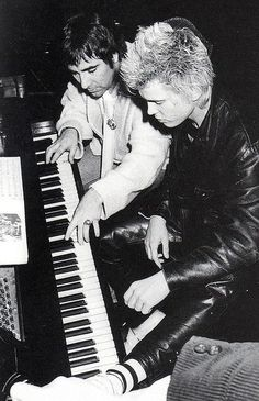 """superseventies: """" Keith Moon giving Billy Idol a piano lesson. """""""