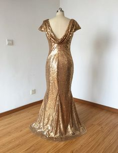 Cap Sleeves Champagne Gold Sequin Long Bridesmaid by DressCulture