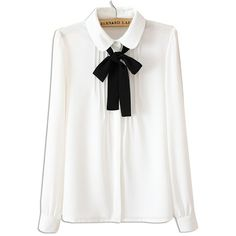 White Ruched Front Bow Tie Long Sleeve Shirt (170 SEK) ❤ liked on Polyvore featuring tops, blouses, long sleeve chiffon blouse, long white shirt, long shirts, shirt blouse and long sleeve tops
