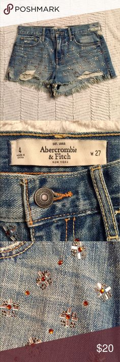 Abercrombie & Fitch bedazzled high waisted shorts Bedazzled Abercrombie & Fitch high waisted jean shorts. Only worn a few times, in very good condition. Perfect for the summer or festival season! Abercrombie & Fitch Shorts Jean Shorts