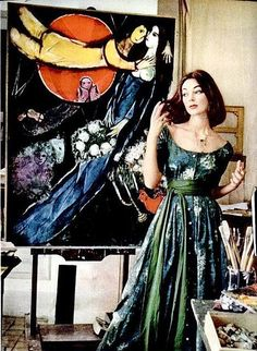 Ivy Nicholson standing in front of a Marc Chagall painting, photo by Mark Shaw, Life magazine 1955