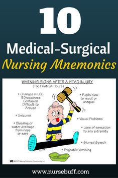 Mnemonics & Tricks Every Nurse Should Know 10 Medical-Surgical Nursing Mnemonics You Should Know Medical-Surgical Nursing Mnemonics You Should Know Now: Nursing Study Tips, Nursing Board, Nursing School Tips, Nursing Notes, Rn Nurse, Nurse Life, Nurse Stuff, Rn School, Medical School