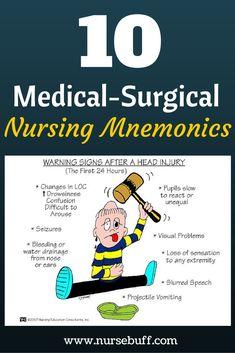 10 Medical-Surgical Nursing Mnemonics You Should Know Now: http://www.nursebuff.com/2014/06/nursing-mnemonics/