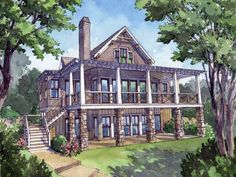 Lake house plan by l mitchell ginn associates arched for Half basement house plans