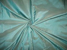 """SILK TAFFETA FABRIC 54"""" Dusty Sea Blue colour"""