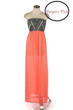 Embroidered Tube Top Maxi-Coral