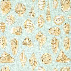Monterey Wallpaper & Fabric in Aqua from the Seaside Collection by #Thibaut-Shell Seekers-my bathroom.
