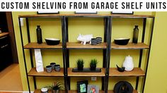 DIY Wood and Metal Shelves: These sleek industrial shelves look like they came from an expensive upscale store, but in reality, they're cheap kitchen shelving! See how to transform these inexpensive shelves with some wood, stain and spray paint to create a high-end look for about $50 with this easy DIY home project: http://livewelln.co/1nXS3da