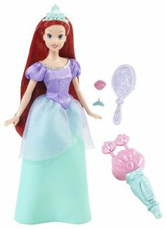 Disney Princess Sparkle And Style Ariel Doll by Mattel. $25.00. From the Manufacturer                Disney Princess Sparkle Hair Play Collection: One of girl's favorite ways to play with fashion dolls is hair play and now Ariel and Sleeping Beauty's hair is even longer and more deluxe. Each princess comes with a hair accessory style tool. Ariel includes a hair twister that girls can activate with a push of a button. Sleeping Beauty has a crimper that magically crimps he...