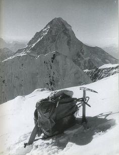 Broad Peak First Ascent - Kurt Diemberger's Knapsack And Ice Axe On Broad Peak Summit June 9, 1957 With K2 Behind