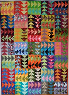 Fun with Barb Fiesta quilt These are 10 inch blocks. Each block's background colors are two similar colors.