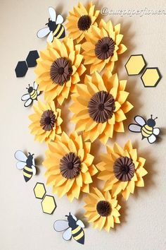 8 sunflowers wall decor what will it bee baby girl nursery decor bee paper flowers bee party theme girls room decor baby shower gift Sunflower Wall Decor, Sunflower Party, Sunflower Nursery, Paper Sunflowers, Paper Flowers Diy, Paper Art, Paper Crafts, Baby Girl Nursery Themes, Girl Themes