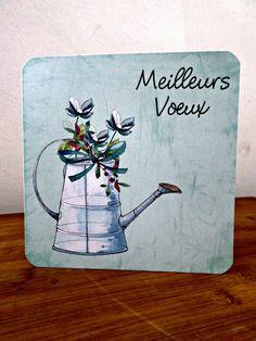 Carte double Meilleurs Voeux fait main 15cm x 15cm : Cartes par card-bubble